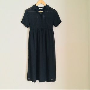 UO silence + noise Sheer Lace Black Collar Dress